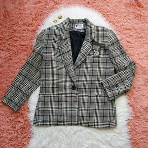 Vintage T C Petites Houndstooth Wool Blazer